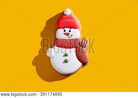 Snowman Biscuit. Christmas Bakery Food. Winter Holidays Homemade Dessert. Cute Fun Gingerbread Cooki