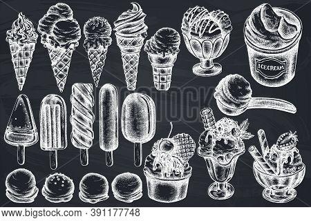 Vector Set Of Hand Drawn Chalk Ice Cream Bowls, Ice Cream Bucket, Popsicle Ice Cream, Ice Cream Cone