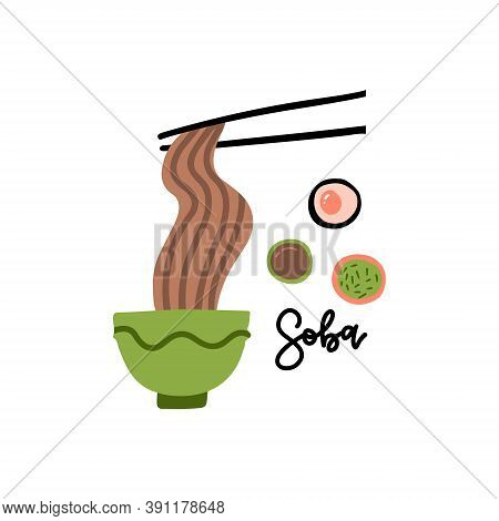 Chopsticks And Noodle, Chinese, Japanese, Asian Cuisine, Flat Vector Illustration Isolated On White