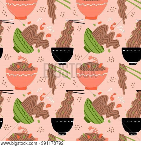 Doodle Yakisoba Seamless Pattern Background. Cartoon Hand Drawn Japanese Street Food. Soba Noodle In