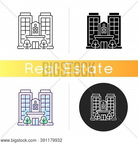 Condominium Icon. Tall Building. High House. Skyscraper Complex. Highrise With Offices. Business Cor