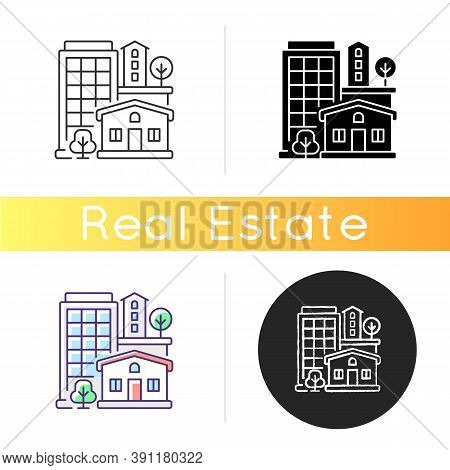 Property Type Icon. Office Building In Downtown. Residential House For Dwelling. Highrise In Neighbo