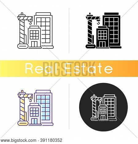 New Building Icon. Condominium Housing. Engineering Project For Home Construction. Tall Highrise. Mo