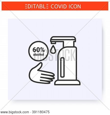 Hand Sanitizer Line Icon. Sixty Percent Alcohol. Sanitizer Dispenser. Hand Disinfection. Sanitizer S