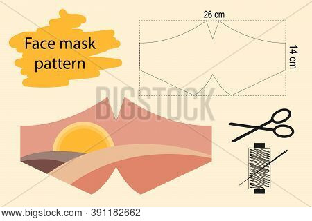 Vector Sewing Pattern Of A Face Mask In Centimeters With A Beautiful Pattern In The Form Of A Sunset