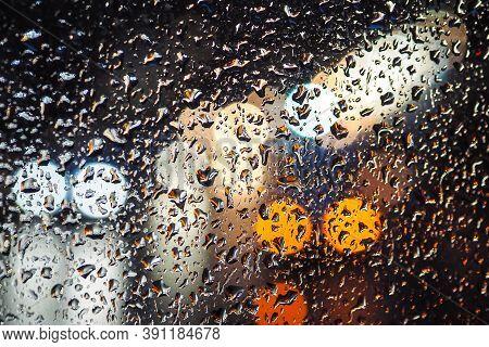 Rainy Day, Rain Drops On Window, Rainy Weather, Rain And Traffic Lights Bokeh, Traffic Jam, Defocuse