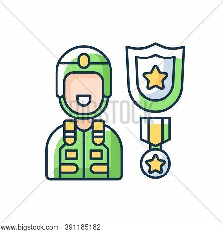 Defence Industry Rgb Color Icon. Military Officer. Armed Forces. Weapons And Military Technology. Ve