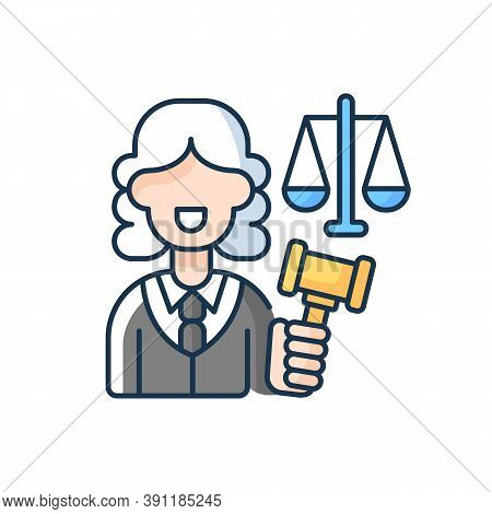 Justice Sector Rgb Color Icon. Judiciary. Legitimacy. Court. Judicial Reform. Practising Lawyers. Ex