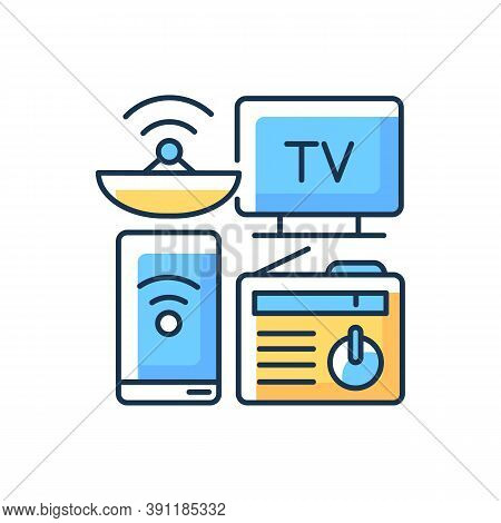 Mass Media Rgb Color Icon. Electronic Devices. Modern Gadgets. Tv, Smartphone, Radio. Digital Media.