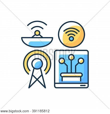 Communications Infrastructure Rgb Color Icon. Broadcasting. Information Technology. Telecommunicatio