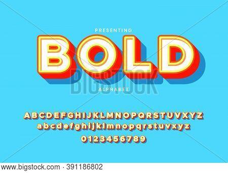 3d Bold Modern Typeface, Vibrant Cool Style Effect, Retro Bold Custom Font Alphabet Template