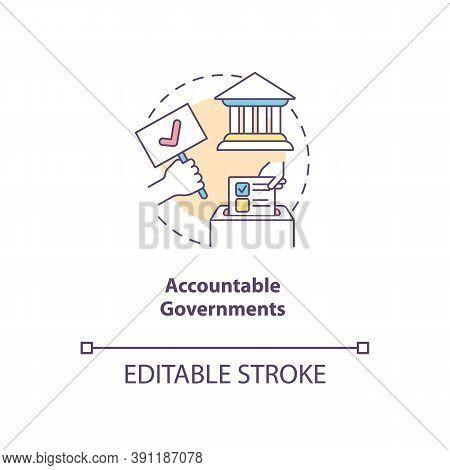 Accountable Governments Concept Icon. Social Change Benefit Idea Thin Line Illustration. Citizen Voi