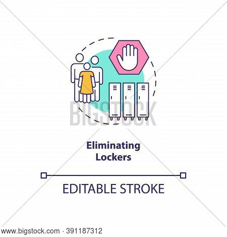 Eliminating Lockers Concept Icon. Covid School Safety Rule Idea Thin Line Illustration. Individual S
