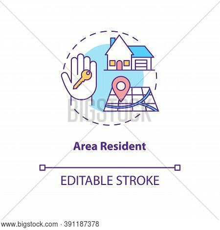 Area Resident Concept Icon. Online Voting Requirement Idea Thin Line Illustration. Legal Residence.
