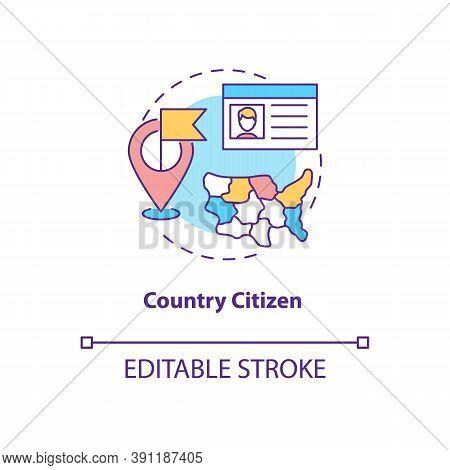 Country Citizen Concept Icon. Online Voting Requirement Idea Thin Line Illustration. Legal Status. C