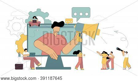 Big Megaphone And Flat People Concept. A Man With A Loudspeaker Looks Out Of The Monitor And Notifie