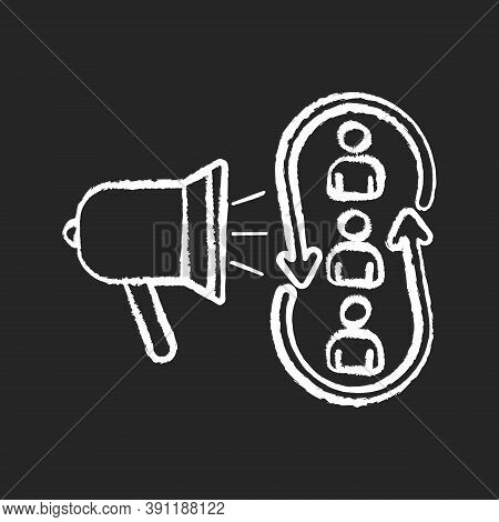 Marketing Synergy Chalk White Icon On Black Background. Broadcast Information To Audience. Promotion