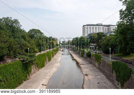 Vienna, Austria - July 30, 2019: View Of Wien River In Vienna City Park, Summer Time