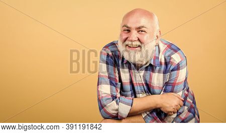 Senior People Entertainment. Elderly Fun. Bearded Senior Hipster Positive Emotion Face Expression. H