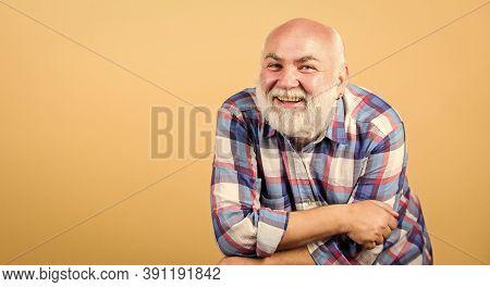 Senior People Entertainment. Elderly Fun. Bearded Senior Hipster Positive Emotion Face Expression. H