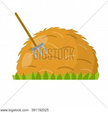 Yellow Haystack And Hayfork. Cartoon Flat Illustration. Rustic Sheaf.