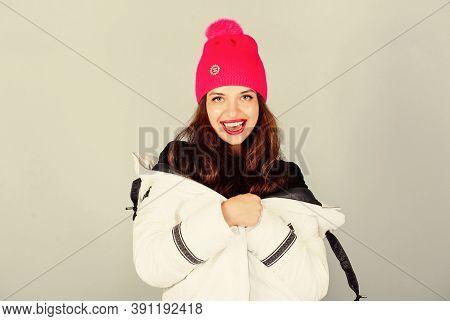 Girl Wear White Jacket. Fancy Stylish Winter Clothes. Jacket Has Extra Insulation And Slightly Longe