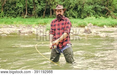 Time For A New Adventure. Fisherman With Fishing Rod. Summer Weekend. Big Game Fishing. Hobby And Sp