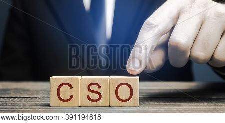 Wooden Blocks With The Word Cso. Chief Strategy Officer, Chief Strategist. Executive Responsible Wit
