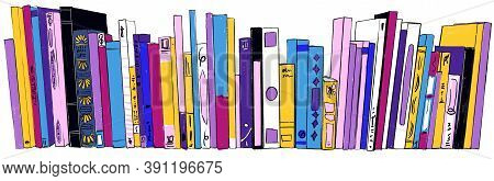Stack Of Books On Bookshelves Colorful Illustration Hand Drawn Sketch Isolate Doodle Style On White