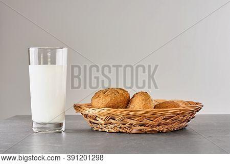 Fresh Milk And Bread On Gray Stone Table. Kinfolk Style. Kefir, Milk Or Turkish Ayran Drink In A Gla