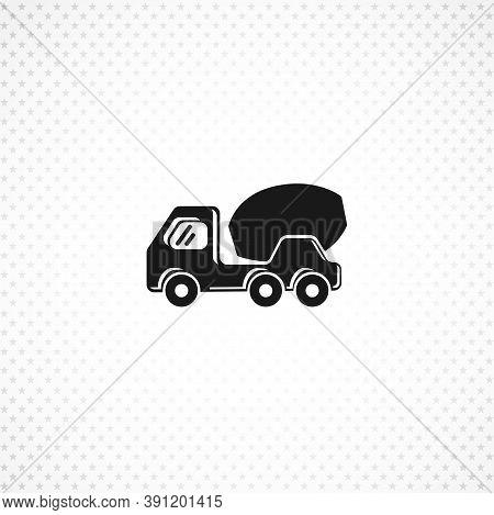 Concrete Mixer Truck Icon. Concrete Truck Isolated Solid Vector Icon