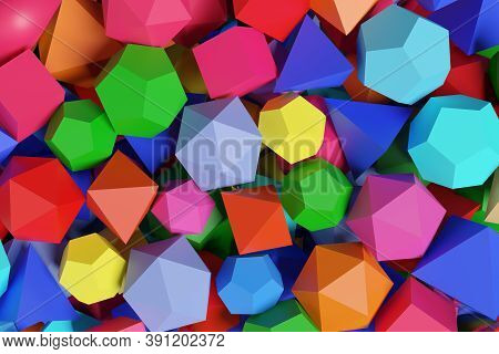 Polyhedra Of Different Colors. Platonic Solids. 3d Illustration.