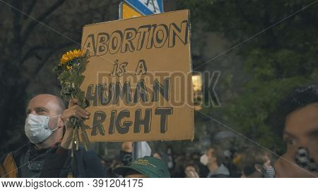 Warsaw, Poland 23.10.2020 - Protest Against Polands Abortion Laws. Abortion Is A Human Right. High Q