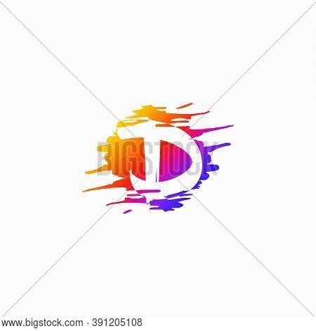 Negative Space Initial Letter D, Brush Splash Vector Design.