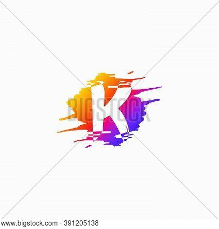 Negative Space Initial Letter K, Brush Splash Vector Design.