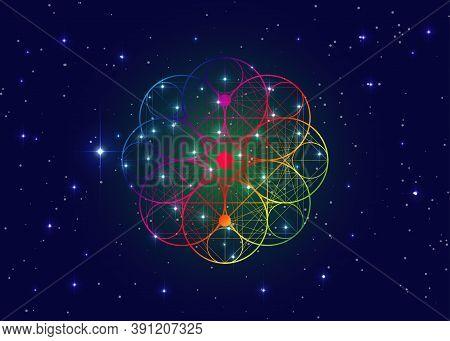 Seed Of Life Symbol Sacred Geometry.  Geometric Mystic Mandala Of Alchemy Esoteric Flower Of Life. H