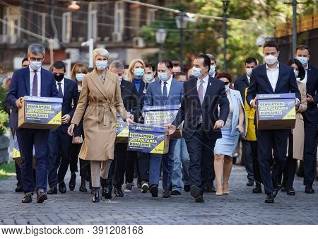 Bucharest, Romania - October 10, 2020: Ludovic Orban And Other Pnl Leaders, Bring The Lists Of Signa
