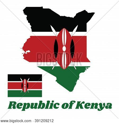 Map Outline And Flag Of Kenya, A Horizontal Of Black, White Red, And Green With Two Crossed White Sp