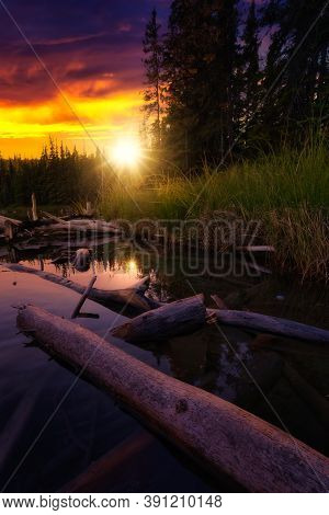 Beautiful Scenery At The Lake In Canadian Nature. Dramatic Sunset Artistic Render. Taken Near Whiteh