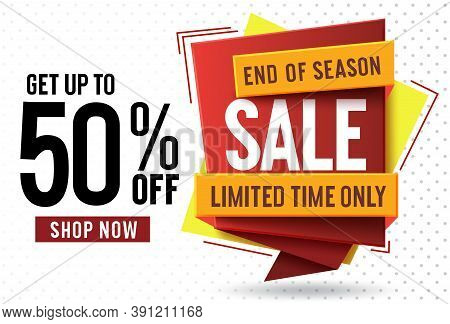 Sale 50% Off Vector Banner Concept Design. End Of Season Sale Text With 50% Off In Colorful Label Ta