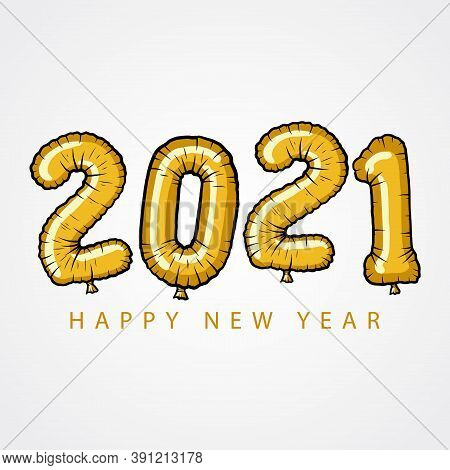 New Year 2021. Happy New Year 2021 Vector. Number 2021 In The Hand-drawn Concept. 2021 Text. Number
