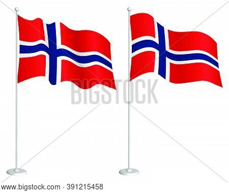 Norway Flag On Flagpole Waving In The Wind. Holiday Design Element. Checkpoint For Map Symbols. Isol