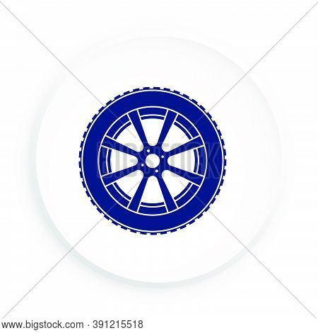 Wheel With Tire And Winter Rubber Tread In Neomorphism Style On White Background. Winter Tires For C