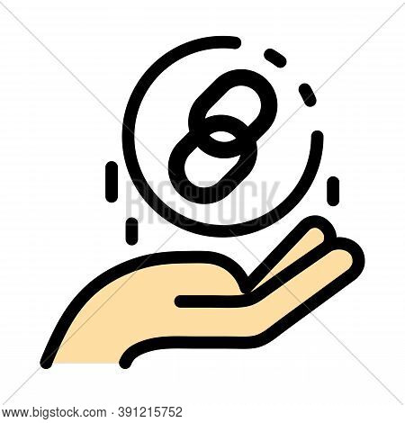 Hyperlink In The Hand Icon. Outline Hyperlink In The Hand Vector Icon For Web Design Isolated On Whi