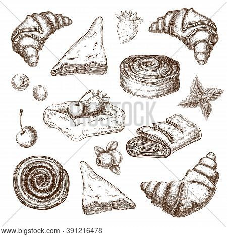Puff Pastries Sketch Collection Isolated On White. Pastry With Berries Pencil Drawing In Vintage Eng
