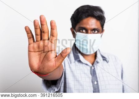 Closeup Asian Handsome Black Man Wearing Surgical Hygienic Protective Cloth Face Mask Against Corona