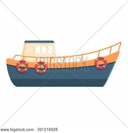 Fishing Boat With Life Buoy Icon. Cartoon Of Fishing Boat With Life Buoy Vector Icon For Web Design