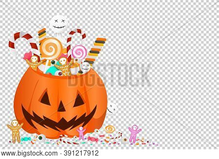 Halloween Party  Background With  Pumpkin Basket Full Of Candies, Sweets,cookies,eyes Isolated  On P
