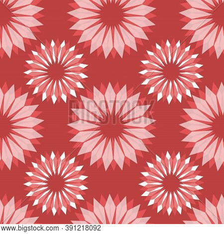Radial Abstract Floral Seamless Vector Pattern. Stylized Flowers Red White Pink Repeating Background