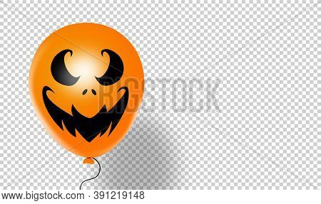 Halloween Party Banner  With  Scary Balloons  Isolated  On Png Or Transparent  Background, Space For